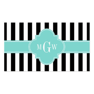 Black White Stripe Turquoise Quatrefoil 3 Monogram Business Cards