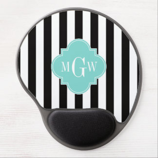Black White Stripe Turquoise Quatrefoil 3 Monogram Gel Mouse Pad