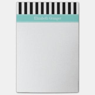 Black White Stripe Turquoise Ribbon Name Monogram Post-it Notes