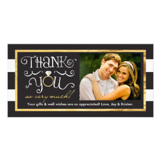 Black White Stripe Wedding Ring Thank You Card