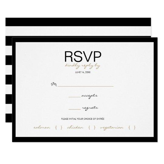 Black & White Stripe Wedding RSVP Response Cards