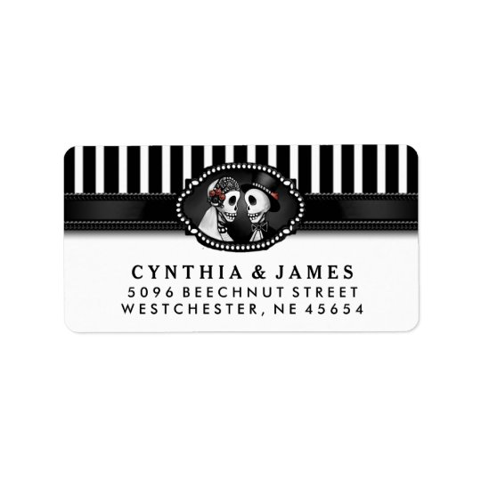 Black White Stripe Wedding Skeletons Address Address Label