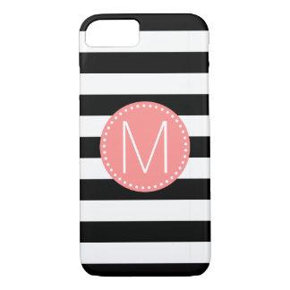 Black & White Stripe with Coral Monogram iPhone 8/7 Case
