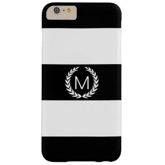 Black & White Stripe with Laurel Wreath Monogram Barely There iPhone 6 Plus Case