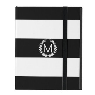 Black & White Stripe with Laurel Wreath Monogram Cases For iPad