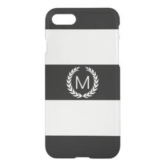 Black & White Stripe with Laurel Wreath Monogram iPhone 8/7 Case