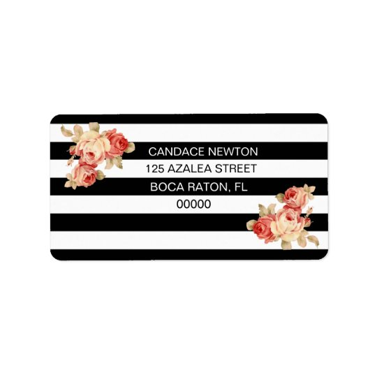 Black & White Stripe With Vintage Roses Label