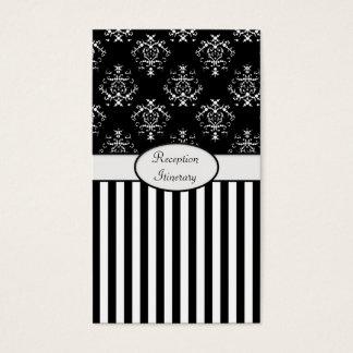 Black & White Striped Baroque Business Card
