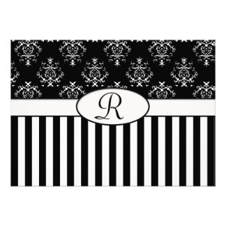 Black White Striped Baroque Personalized Announcement