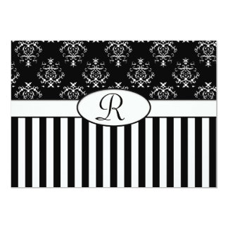 Black & White Striped Baroque 13 Cm X 18 Cm Invitation Card