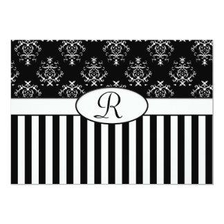 Black & White Striped Baroque 13 Cm X 18 Cm Invitation Card