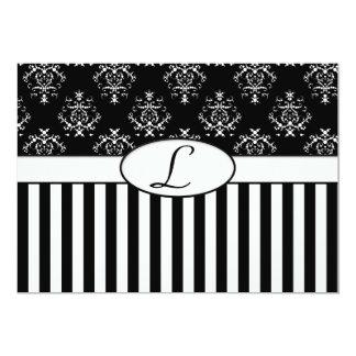 Black & White Striped Baroque Invite