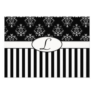 Black White Striped Baroque Invite Custom Announcements