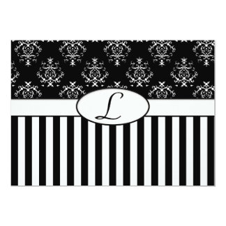 Black & White Striped Baroque Invite
