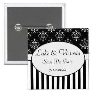 Black & White Striped Baroque Reminder 15 Cm Square Badge