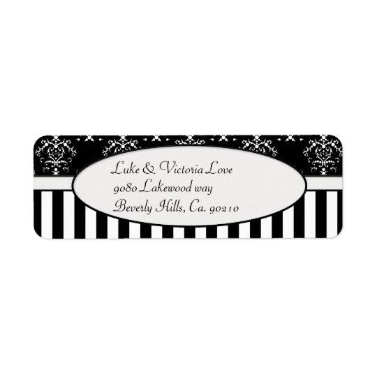 Black & White Striped Baroque Return Address Label