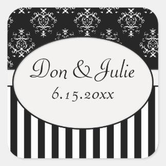 Black & White Striped Baroque Square Sticker