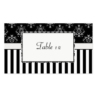 Black & White Striped Baroque Table Double-Sided Standard Business Cards (Pack Of 100)
