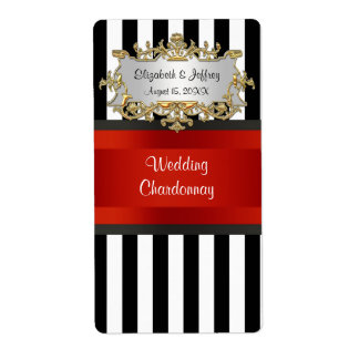 Black White Striped Black Red Ribbon Wine Label Shipping Label