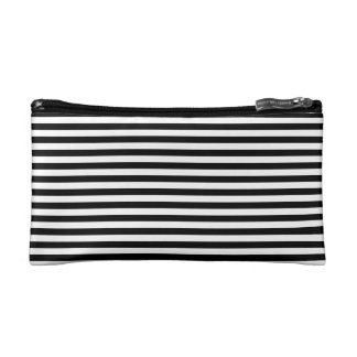 Black & White Striped Cosmetic Bag