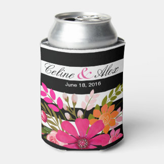 Black & White Striped Folklore Flowers | fuchsia Can Cooler