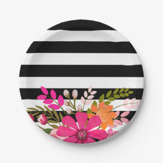 Black & White Striped Folklore Flowers   fuchsia Paper Plate