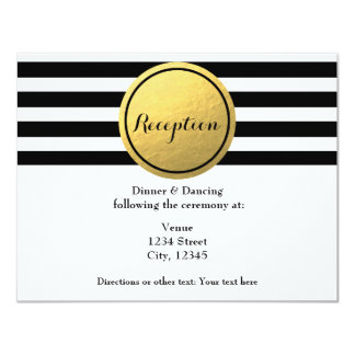 Black & White Striped Gold Circle Reception Card