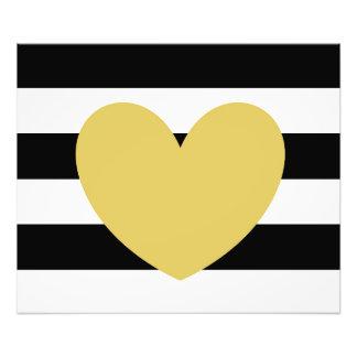 """Black+White Striped Gold Heart 24""""x20"""" Kodak Photo"""