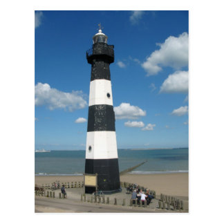 Black White Striped Lighthouse Postcard