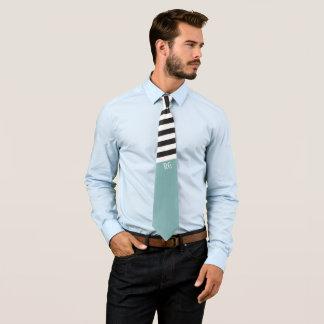 Black White Striped Pattern Monogrammed Green Tie