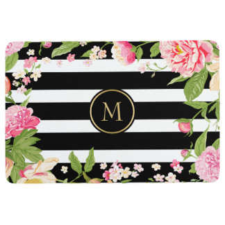 Black & White Striped Pattern Pink Flowers Accent Floor Mat