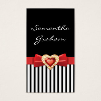 Black white striped pattern with red bow and jewel
