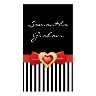 Black white striped pattern with red bow and jewel pack of standard business cards