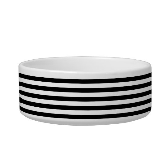 Black & White Striped Pet Bowl