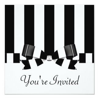 Black & White Striped Wedding Classic Card