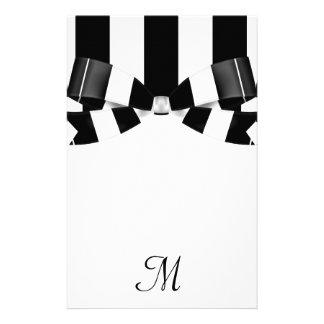 Black & White Striped Wedding Classic Personalized Stationery