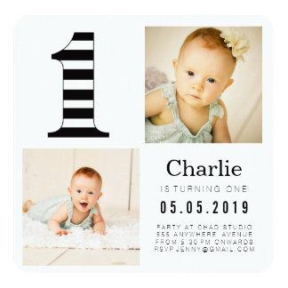 Black & White Stripes 1st Birthday Photo Cards 13 Cm X 13 Cm Square Invitation Card