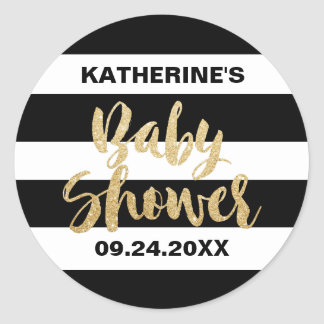 Black White Stripes and Gold Text Baby Shower Classic Round Sticker
