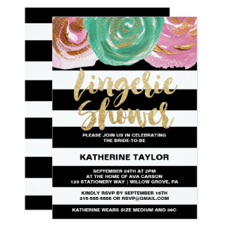 Black White Stripes and Gold Text Lingerie Shower Card