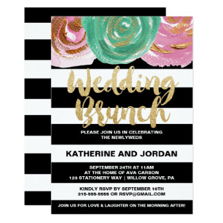 Black White Stripes and Gold Text Wedding Brunch Card