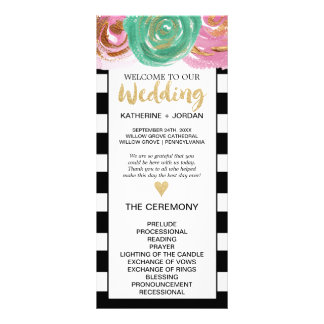 Black White Stripes and Gold Text Wedding Program Rack Card