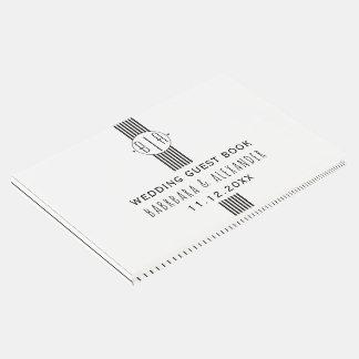 Black white stripes and monogram wedding
