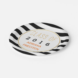Black white stripes Class of 2016 graduation Paper Plate