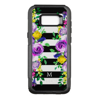 Black & White Stripes & Colorful Peonies OtterBox Commuter Samsung Galaxy S8+ Case