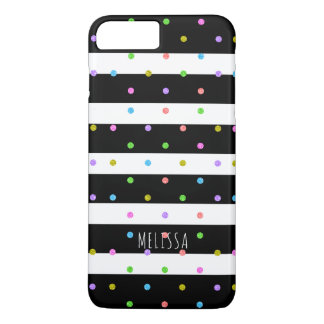Black & White Stripes Colorful Polkadots Pattern iPhone 8 Plus/7 Plus Case