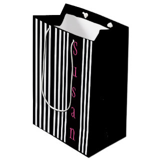 Black White Stripes Design Gift Bag