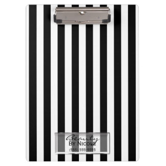Black White Stripes Elegant Glam Personalized Clipboard