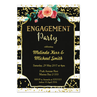 Black & White Stripes Engagement Party Invitation