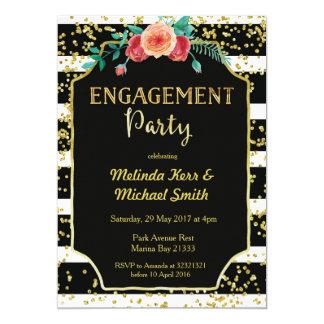 Black & White Stripes Engagement Party Invitation