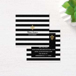 Black & White Stripes Fleur de Lis Square Business Card